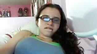 Cute nerdy girl with glasses rubs her hairy pussy on omegle