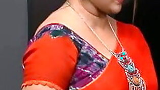 Curvy Aunty Hot in Sizzling Red Saree