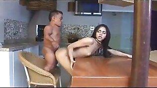 Beautiful latina fuck anal midget