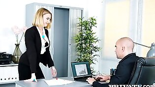 In The Office, A Bald Man In Society Entertains A Juicy Brunette In St - Anastasia Brokelyn