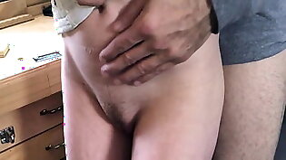 Snow Bunny Sits on Daddy s Lap and makes him Cum twice in he