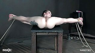 Blue eyed blonde beauty Cora Moth tied up and abused hardcore