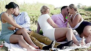 Russian bombshell Kira Queen swaps her BF with curvaceous nympho for swinger fuck