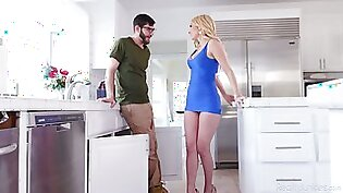 Sexy blonde housewife Aaliyah Love can think only about kitchen sex today