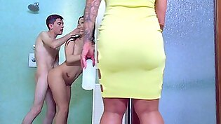 Milf joins a teen couple for hot sex in the shower