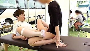 Naughty Asian nurse in uniform gets fucked in the outdoors